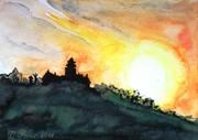 Burg Breuberg im Sonnenaufgang 2011, Aquarell, Kunst, Art, Malerei