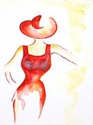 Rote Dame 2013, Aquarell, Art, Kunst, Malerei